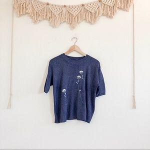 Vintage Dark Blue Sweater w/Embroidered Dandelions